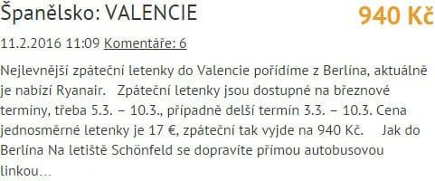 Valencie 940 Kč