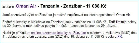 Zanzibar, 11.088 Kč