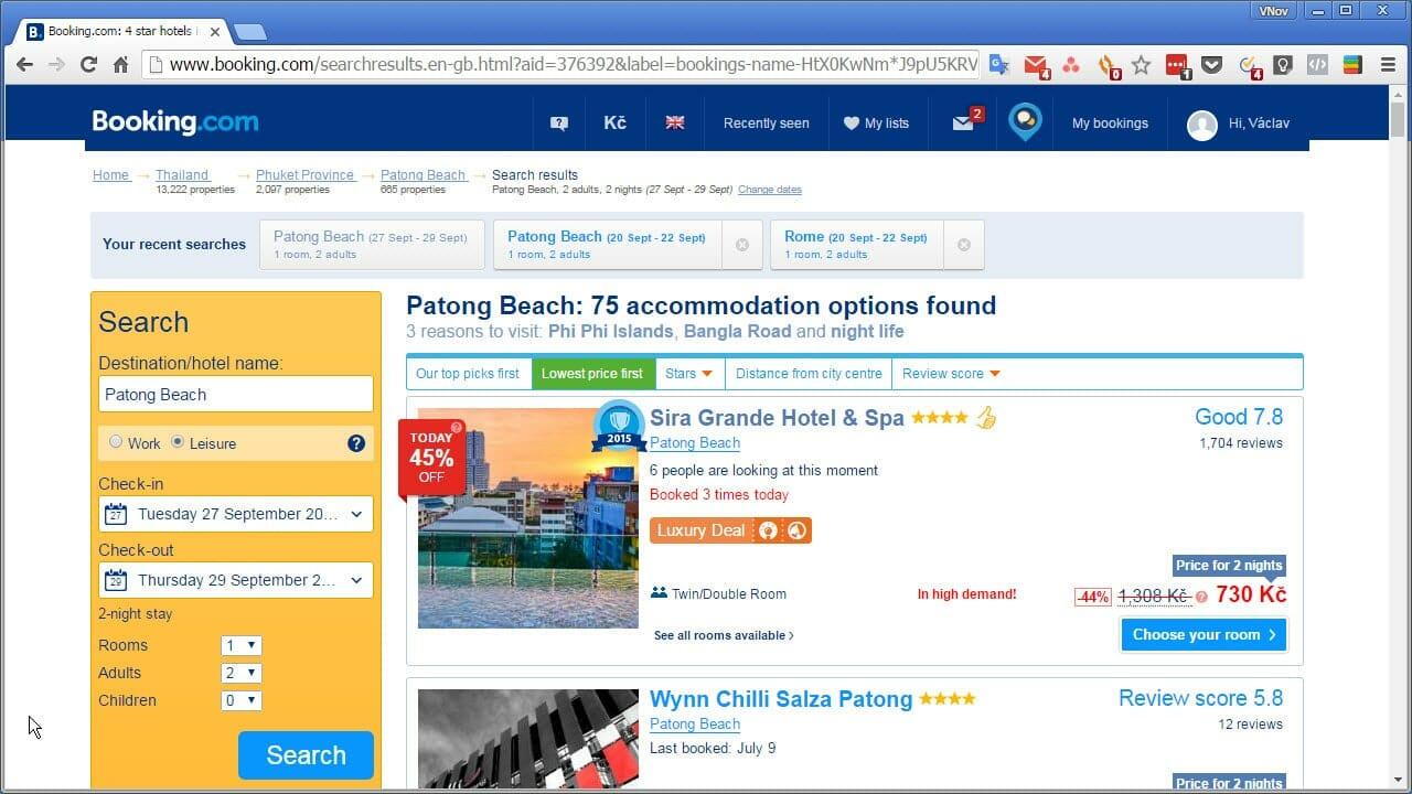 Booking, 4 stars, 730 Kč