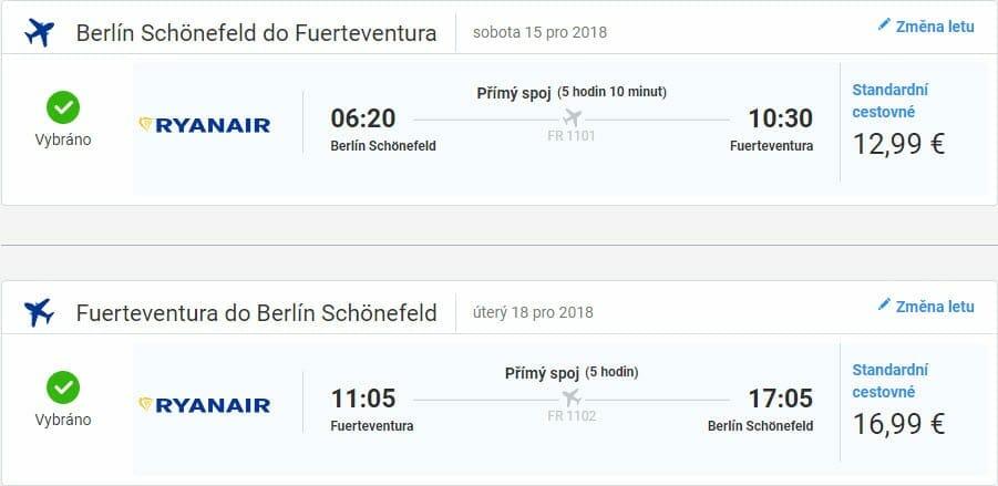Berlín - Fuerteventura, 15. až 18. listopad 2018 (Letenky)