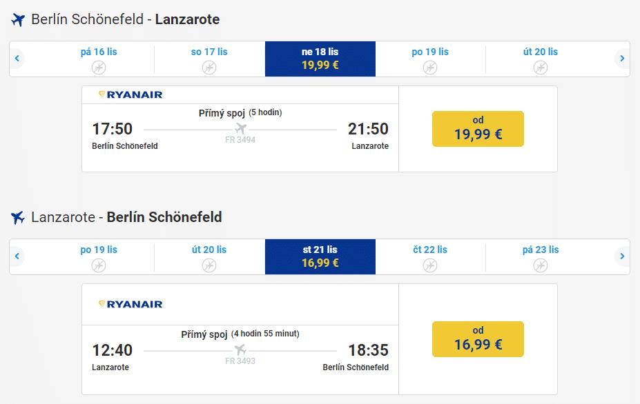 Berlín – Lanzarote za 957 Kč 18. až 21.11.2018 (letenka)