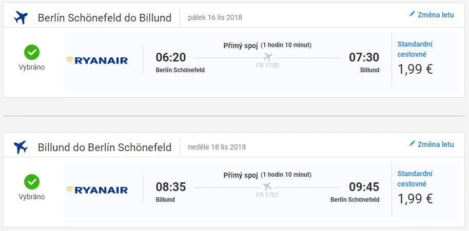 Berlín - Bilund, 16. až 18. listopadu (Letenky Ryanair)