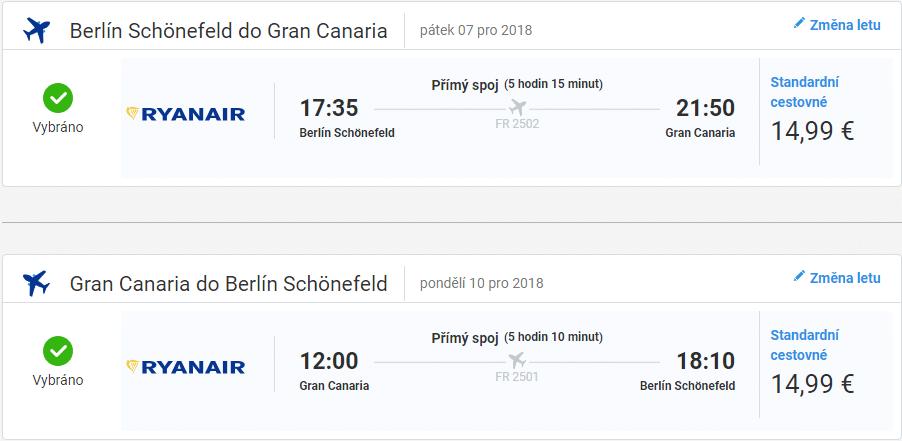 Berlín – Gran Canaria, 7. až 10.12.2018 (Letenky Ranair)