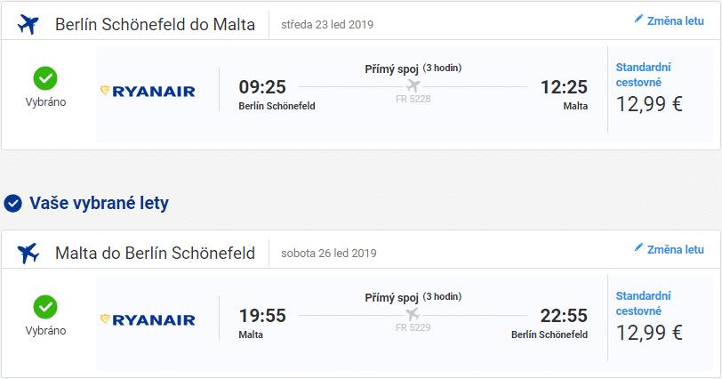 Berlín – Malta (Ryanair, 23. až 26. leden 2018)